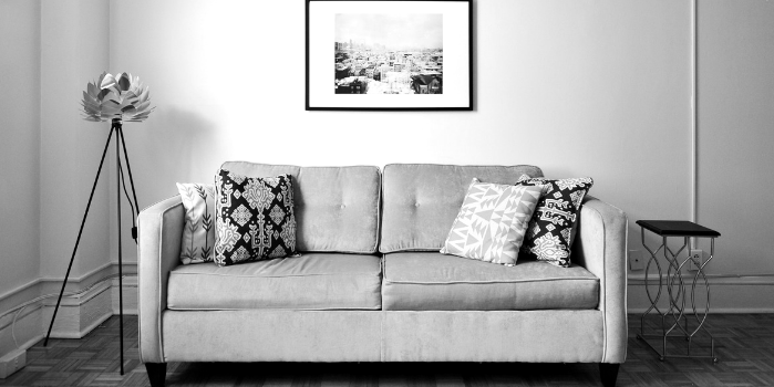 Black and white image of a living room sofa